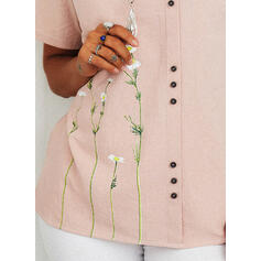 Print Floral Round Neck Short Sleeves Casual Blouses
