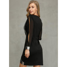 Color Block Long Sleeves/Split Sleeve Bodycon Above Knee Party/Elegant Dresses