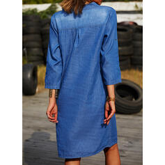Solid Long Sleeves Shift Above Knee Casual/Denim Shirt Dresses