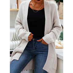 Solid Chunky knit Pocket Casual Cardigan
