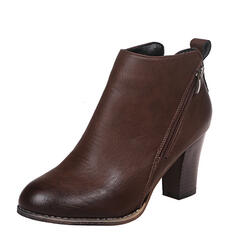 Women's PU Chunky Heel Boots Ankle Boots Round Toe With Zipper shoes
