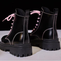 Women's PU Low Heel Flat Heel Chunky Heel Others Boots Ankle Boots Snow Boots High Top Round Toe With Lace-up Solid Color shoes