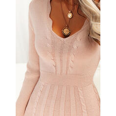 Solid Long Sleeves A-line Above Knee Casual Sweater/Skater Dresses