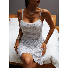 Lace/Print/Floral Sleeveless Sheath Above Knee Casual/Vacation Slip Dresses