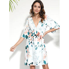 Print/Floral 1/2 Sleeves A-line Knee Length Casual/Boho/Vacation Skater Dresses