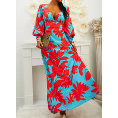 Print/Floral Long Sleeves/Lantern Sleeve Sheath Party/Elegant Maxi Dresses