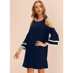 Solid Long Sleeves/Flare Sleeves/Cold Shoulder Sleeve Shift Above Knee Casual/Elegant Tunic Dresses