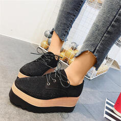 Women's PU Flat Heel Flats Loafers With Rhinestone Lace-up shoes
