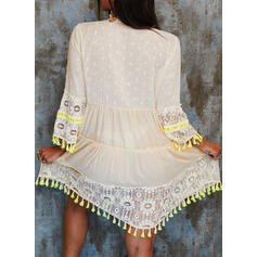 Lace/Tassel 3/4 Sleeves/Flare Sleeves Shift Knee Length Casual/Vacation Tunic Dresses