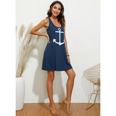 Print Sleeveless Sheath Above Knee Sexy/Casual/Vacation Tank Dresses