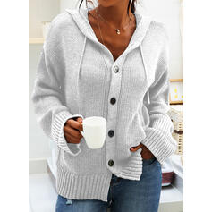 Solid Chunky knit Pocket Hooded Casual Cardigan