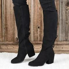 Women's PU Chunky Heel Boots Mid-Calf Boots Pointed Toe With Zipper shoes