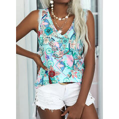 Print Floral Lace V-Neck Sleeveless Casual Blouses