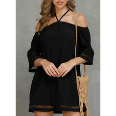 Solid 3/4 Sleeves Shift Above Knee Casual Dresses