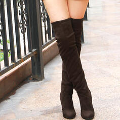 Women's Suede Stiletto Heel Over The Knee Boots Pointed Toe With Solid Color shoes