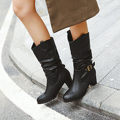 Women's PU Chunky Heel Boots Round Toe With Buckle Solid Color shoes