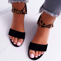 Women's Suede Chunky Heel Sandals With Buckle Animal Print shoes
