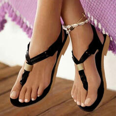 Leatherette Flat Heel Sandals Flats Peep Toe Flip-Flops With Others shoes