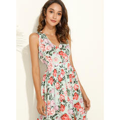 Print/Floral Sleeveless A-line Skater Casual/Vacation Midi Dresses