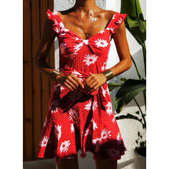 Print/Floral/PolkaDot Sleeveless A-line Above Knee Casual/Vacation Skater Dresses