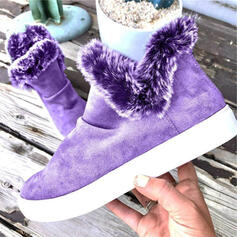 Women's Suede Flat Heel Ankle Boots Snow Boots Round Toe With Zipper Faux-Fur shoes