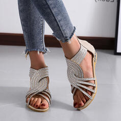 Women's PU Flat Heel Peep Toe Slippers With Crystal Solid Color shoes