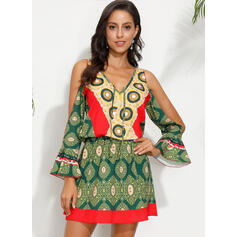 Print 3/4 Sleeves/Cold Shoulder Sleeve Sheath Above Knee Casual/Boho/Vacation Dresses