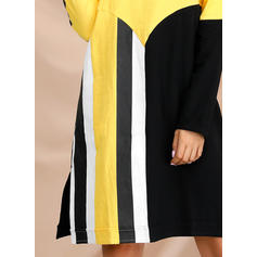 Color Block/Striped Long Sleeves Shift Knee Length Casual Tunic Dresses