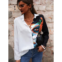 Print Floral Lapel Long Sleeves Button Up Casual Halloween Shirt Blouses