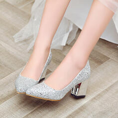 Women's Sparkling Glitter Chunky Heel Pumps Closed Toe shoes