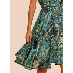 Print Sleeveless A-line Knee Length Casual/Vacation Skater Dresses