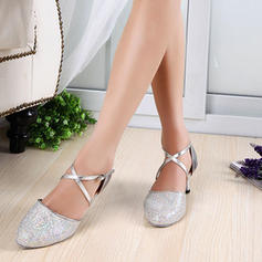 Women's Ballroom Heels Pumps Sparkling Glitter Patent Leather With Ankle Strap Latin