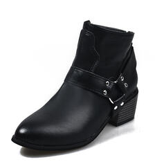 Women's PU Chunky Heel Ankle Boots Pointed Toe With Buckle Zipper Others shoes
