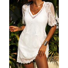 Lace/Solid Short Sleeves Shift Knee Length Casual/Vacation Tunic Dresses