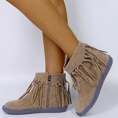 Women's Leatherette Flat Heel Ankle Boots Round Toe With Tassel shoes