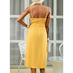 Solid Sleeveless A-line Slip/Skater Casual/Vacation Midi Dresses