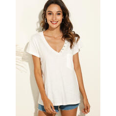 Solid V-Neck Short Sleeves Casual Basic T-shirts