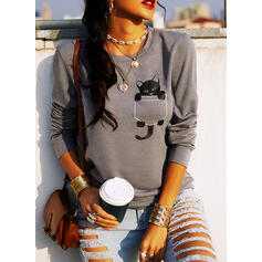Motif Animal Col rond Manches longues Sweat-shirts