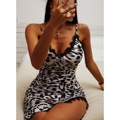Print/Leopard Lace Sleeveless Bodycon Above Knee Sexy/Party Slip Dresses