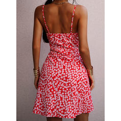 Print/Floral Sleeveless A-line Above Knee Sexy/Casual/Vacation Slip Dresses