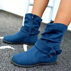 Women's PU Flat Heel Ankle Boots Martin Boots Round Toe With Buckle Zipper shoes