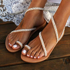 PU Flat Heel Sandals Flats Peep Toe Toe Ring With Imitation Pearl shoes