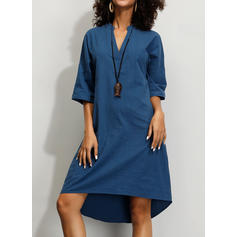 Solid 1/2 Sleeves Shift Knee Length Casual Tunic Dresses