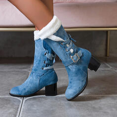 Women's Denim Chunky Heel Mid-Calf Boots Pointed Toe Winter Boots With Lace-up shoes
