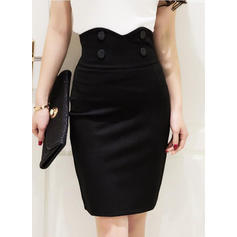 Cotton Plain Knee Length Pencil Skirts