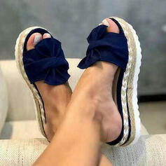 Women's Leatherette Wedge Heel Sandals Slingbacks Slippers With Bowknot shoes