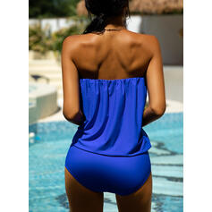 Solid Color Strapless Sexy Tankinis Swimsuits