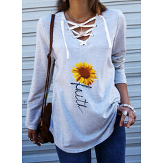 Sunflower Print Figure V-Neck Long Sleeves Sweatshirt
