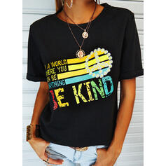 Print Floral Letter Round Neck Short Sleeves Casual T-shirts