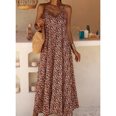 Print/Floral Sleeveless Shift Casual/Vacation Maxi Dresses